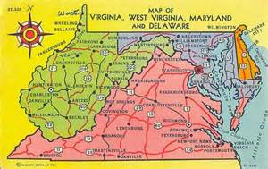 Map Of Virginia And Maryland by Postcardy The Postcard Explorer Map Virginia West