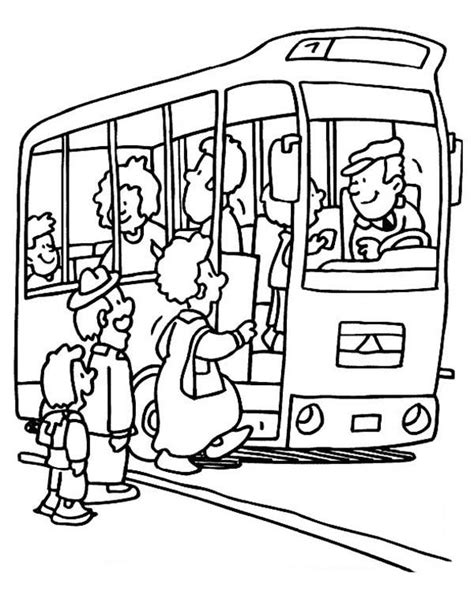 in color line up stop waiting for passanger go up coloring pages best