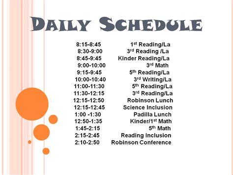 printable daily school schedule daily schedule calendar template 2016