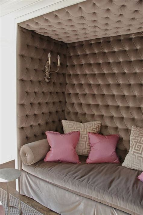 modern upholstered fabric wall panels with gray wall grey bolster pillows design ideas
