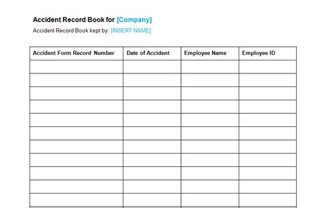 record book template health safety page 2 of 4 bizorb