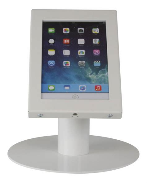 Tablet Desk Stand Securo 7 8 Inch White Lockable Exhibishop Tablet Stand For Desk