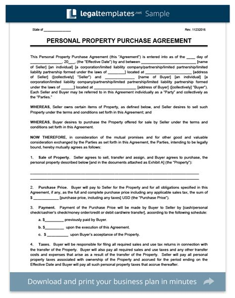 property purchase agreement template create a personal property purchase agreement