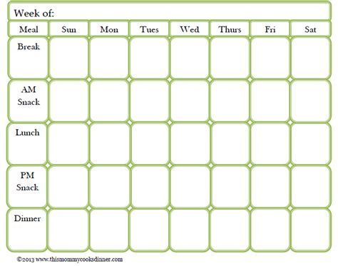 meal card template meal plan template beepmunk