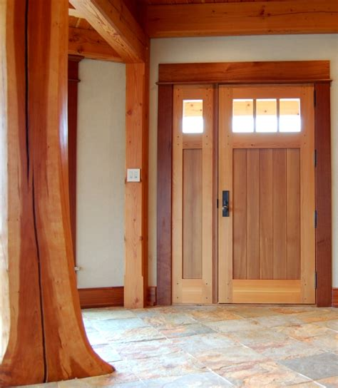 "Crafted of Western Red Cedar, this entry door is 3"" thick"