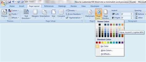 web layout in ms word 2007 how to make microsoft word into a minimalist word