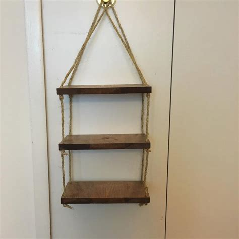 rope ladder shelf wall shelf custom wood shelf rope by diyinmi