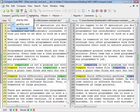 Compare Word Documents 2010