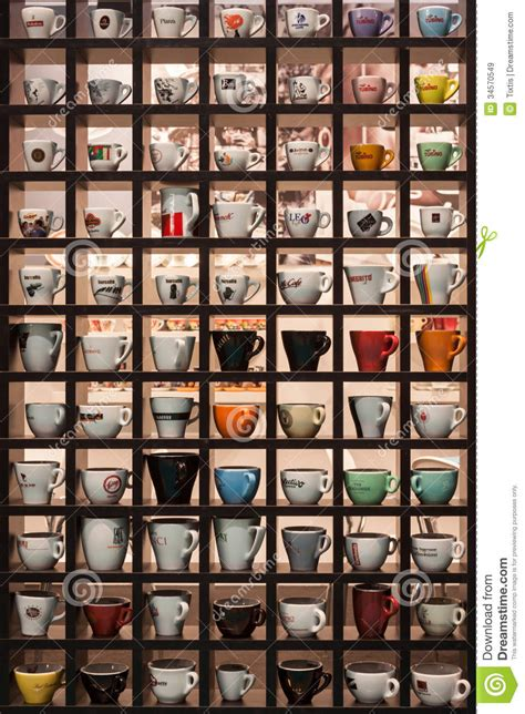 L Collectors by Collection Of Coffee Cups At Host 2013 In Milan Italy Editorial Stock Image Image 34570549