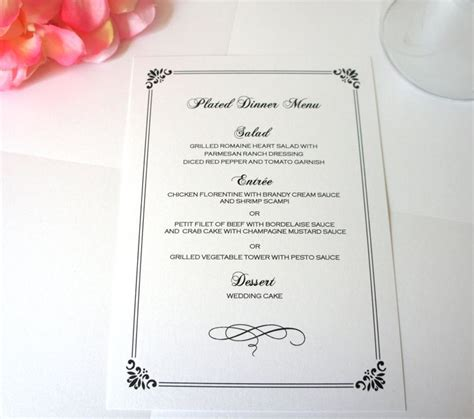elegant formal dinner menu ideas elegant menu card deposit products wedding and