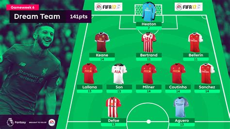 epl table line up liverpool trio dominate gw6 dream team