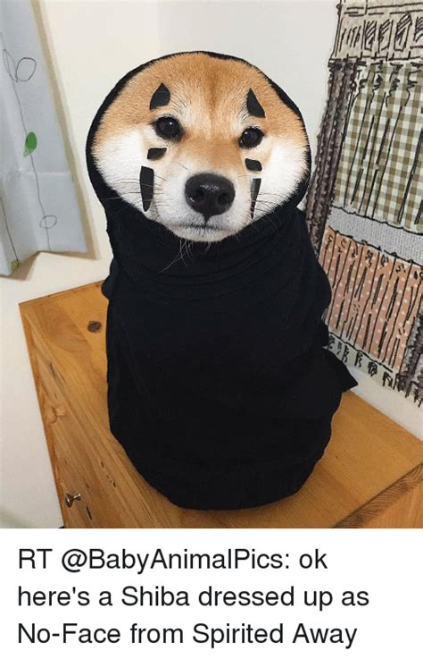 rt ok here s a shiba dressed up as no face from spirited