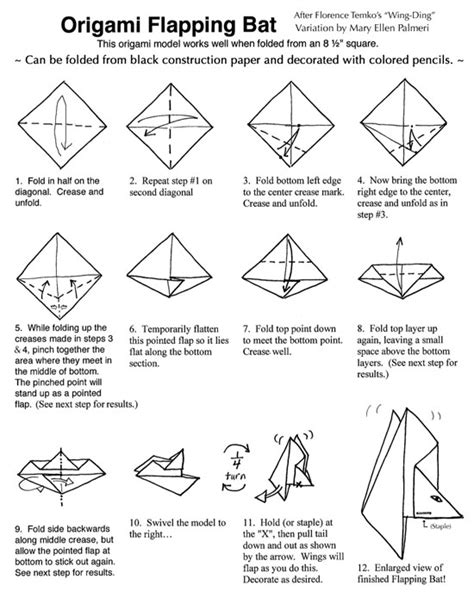 How To Make A Paper Bat - monthly feature origami page the flapping bat
