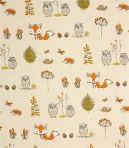 Yellow Grey Curtains Woodland Fox Fabric Terracotta Just Fabrics