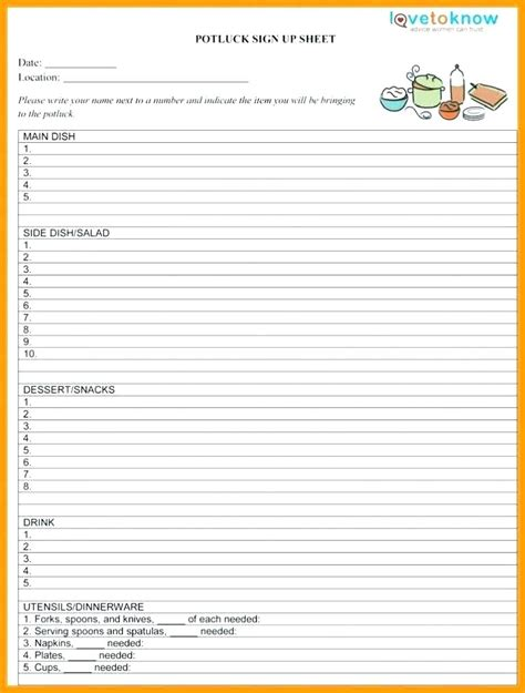 food day sign up sheet template food day sign up sheet template gallery template design