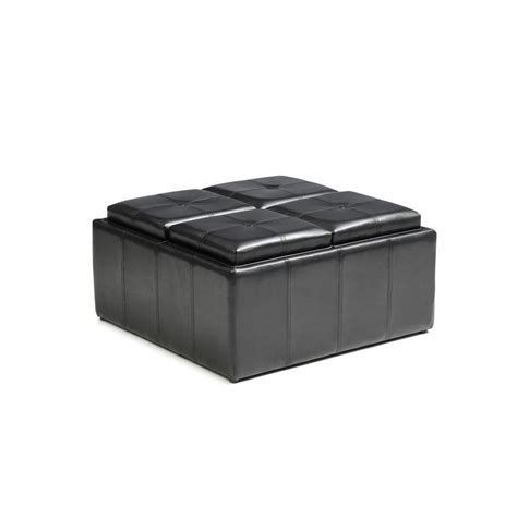 ottoman with serving trays hodedah faux leather storage black ottoman with 4 flip