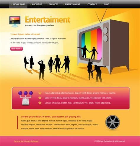 entertainment template entertainment xhtml template 6054 entertainment
