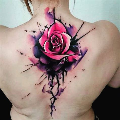 water colour rose tattoo watercolor on front shoulder by uncl paul knows