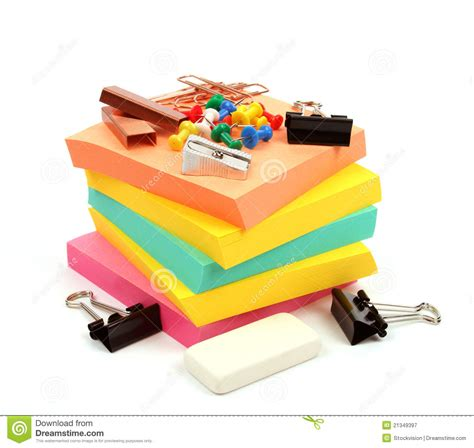 colorful office supplies colorful office supplies on white background royalty free