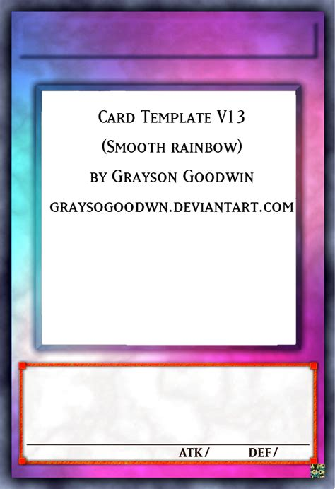 bifold card template deviantart yu gi oh card template v13 smooth rainbow by