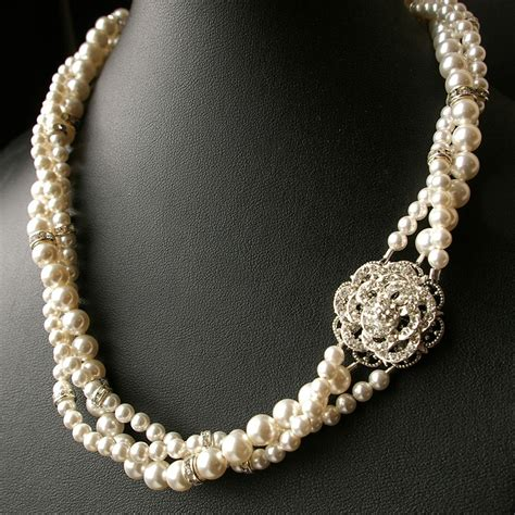 wedding jewelry vintage wedding jewelry pearl bridal necklacetwisted pearl