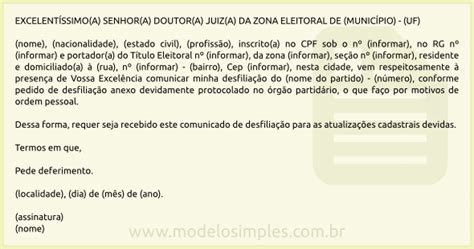 modelo de comunica 231 227 o de desfilia 231 227 o partid 225 ria ao juiz eleitoral