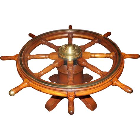 19th C Ship S Wheel Coffee Table From Nhantiquecoop On Coffee Table With Wheel