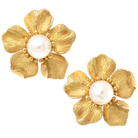 Flowery Earrings and co pearl gold flower earrings at