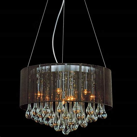 Brizzo lighting stores 18 quot gocce modern string drum shade crystal round chandelier polished