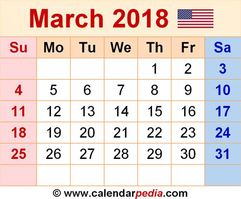 Calendar 2018 March Uk March 2018 Calendars For Word Excel Pdf
