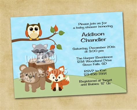 Woodland Forest Friends Baby Shower Invitations Forest Friends Woodland Forest And Shower Friends Themed Invitation Template