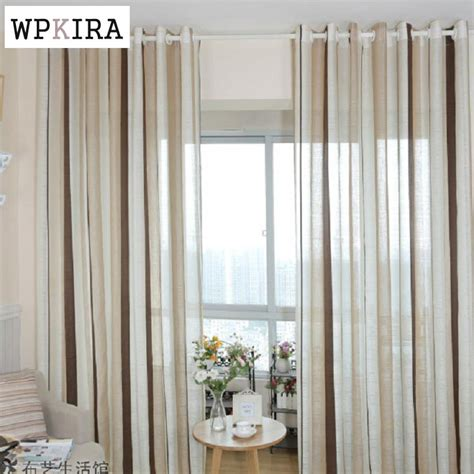 linen luxury curtains fashion stripe rustic curtain yarn bedroom living room