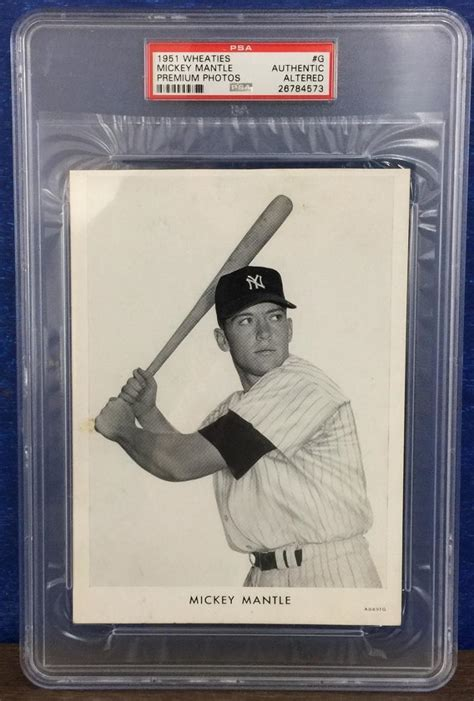 Premium Mickey Baseball 1951 wheaties premium photos g mickey mantle rookie card s