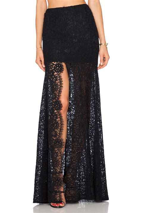 hermes lace maxi skirt in black lyst