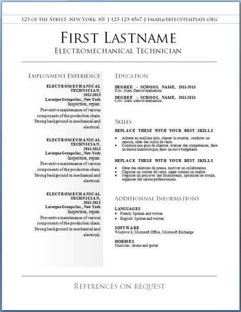 cv format word 2015 free download resume exles templates best 10 free resume template