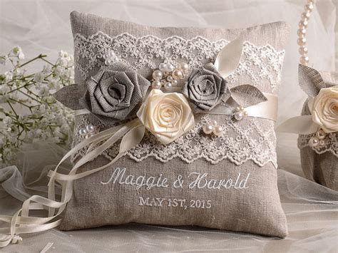 almohadas arredo lace wedding pillow ring bearer pillow embroidery names