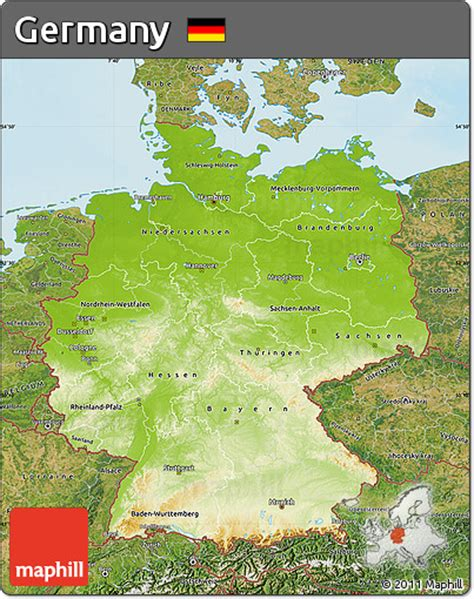 germany physical map free physical map of germany satellite outside shaded
