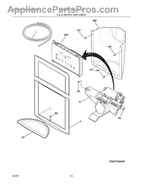 dispenser diagram parts for frigidaire fgus2642lf0 water dispenser