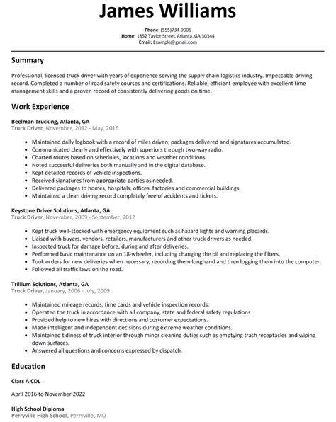 sle water truck driver resume truck driver resume sle resumelift
