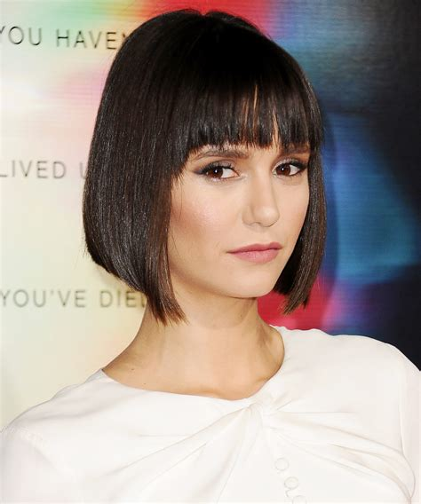 just a bob hairstyle just a bob hairstyle nina dobrev just got bangs and an
