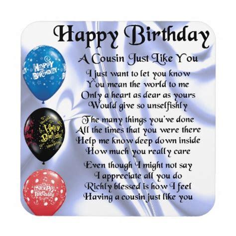 Happy Birthday Quotes For Cousins Cousin Poem Happy Birthday Drink Coasters Zazzle