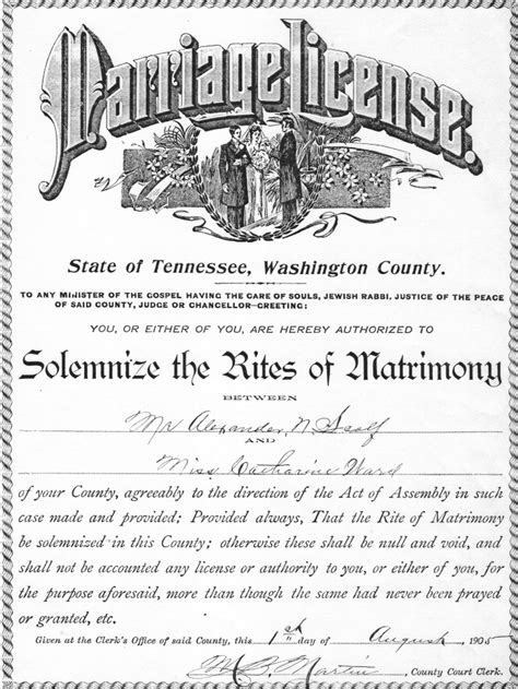 Tennessee Marriage License Records Berryman Scalf