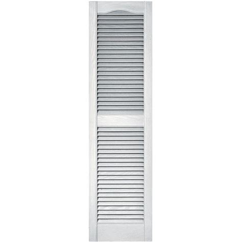 Builders Edge 15 In X 55 In Louvered Vinyl Exterior Home Depot Exterior Shutters