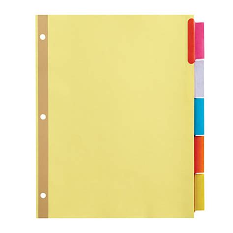Office Depot Brand Insertable Tab Dividers 5 Tab Buff Paper Multicolor Tabs By Office Depot Office Depot Paper Templates