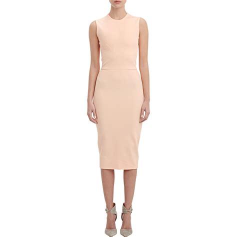 knit sheath dress beckham compact knit sheath dress in pink lyst