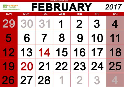 feb week february 2017 days of the week and calendar calendar