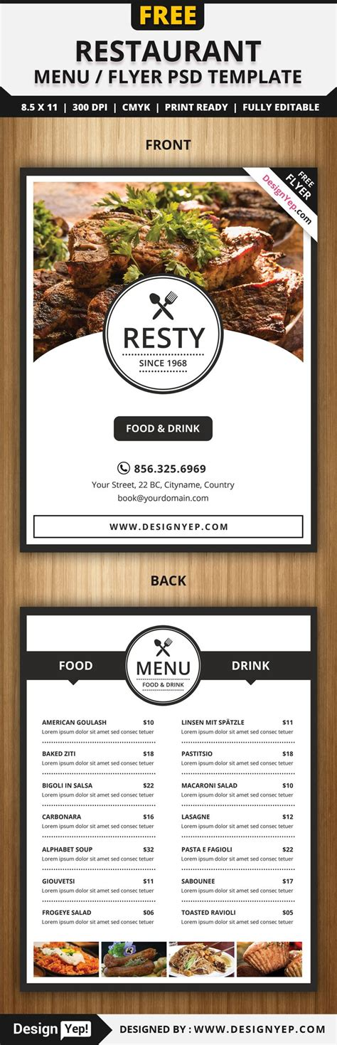 Free Restaurant Menu Flyer Psd Template Free Flyers Pinterest Restaurante Menus Free F I Menu Template