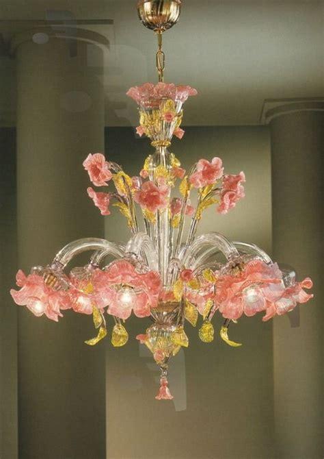 venetian glass chandelier lighting murano glass elisiamare 6 light pink gold venetian