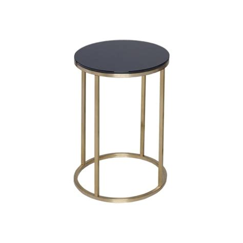 Black Glass Side Table Buy Black Glass And Gold Metal Circular Side Table From Fusion Living