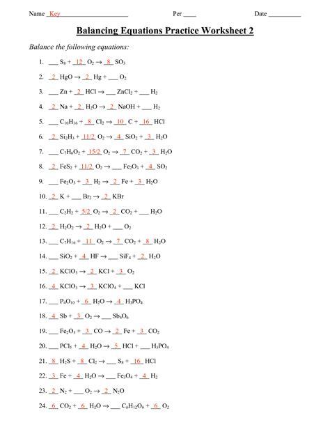 Chemistry Balancing Chemical Equations Worksheet Answer Key